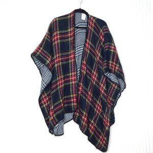 Woolrich Double Sided Plaid Cape Poncho